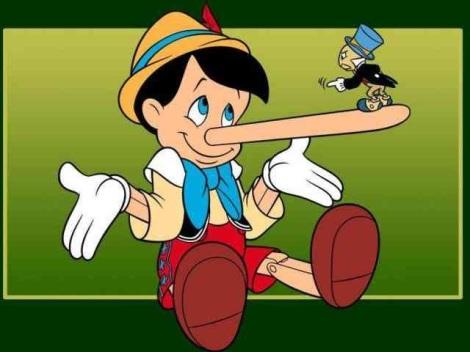Pinokio, karakter kartun yang hidungnya memanjang tiap kali dia berbohong