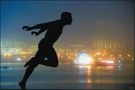 runner at the town in night scene