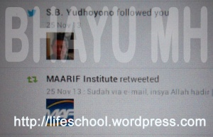 SBYudhoyono followed Bhayu MH on Twitter