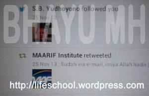 SBYudhoyono followed Bhayu MH on Twitter