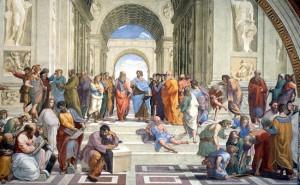 Aristoteles mengajar di Sekolah Athena (lukisan oleh Raphael)
