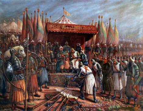 Salahuddin dan Guy d' Lusignan saat penaklukan Yerusalem