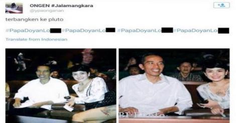 "Foto Jokowi bersama Nikita Mirzani yang lantas ditulis dengan hashtag #PapaDoyanLonte"""