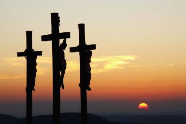 Three crosses on Kreuzberg mountain near Bischofsheim, Rhon, Franconia, Bavaria, Germany